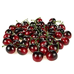 Juvale Artificial Cherries, Plastic Fruit (1 Inch, Red, 50-Pack)