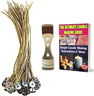 """CozYours 8"""" BEESWAX HEMP CANDLE WICKS 50 pcs with 1 Metal Holder; ORGANIC & NATURAL; Thick Gauge 0.08"""" (2.0mm); 70 CANDLE ..."""