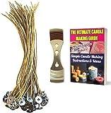 CozYours - Candela in cera d'api, 200 mm, 50 pezzi, con dispositivo di centraggio per stoppino, basso fumo e naturale; candela fai da te Hacks E-Book incluso.