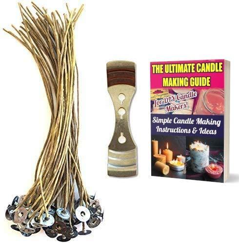 CozYours Vela de cáñamo de cera de abeja de 200 mm, 50 unidades con dispositivo de centrado de mecha de vela; bajo humo y natural; vela DIY Hacks E-Book incluido. mechas de velas para hacer velas