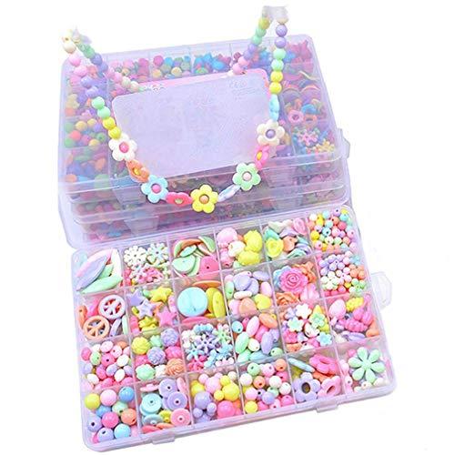 Showlovein 470PCS DIY Bead Set?Craft DIY Necklace Bracelets for Kids Jewelry Making Kits Colorful Acrylic Crafting Beads K.