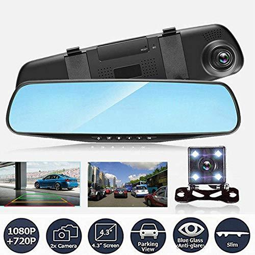 Coche DVR De Doble Lente HD Espejo Retrovisor del Vehículo Video Recorder Kits De Cámara HD 1080P De Doble Lente DVR para Coche Espejo Retrovisor Dash CAM Recorder
