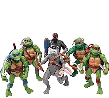 6 PCS Set Teenage Mutant Ninja Turtles Action Figure Toy Include (Michelangelo,Leonardo,Raphael,Donatello,Splinter Shredder) ~4.7 inches TMNT Action Figures