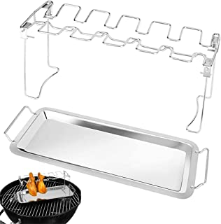 BESTIM INCUK Stainless Steel Chicken Wing Leg Rack, Foldable Stainless Steel Grilling Accessories Fits up to 14 Chicken Le...