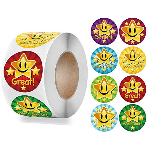 500pcs 1 Inch 8 Kinds of Design Star Reward Stickers Roll for Kids Teacher Adults Parents Classroom School Work Study Training Award Gifts