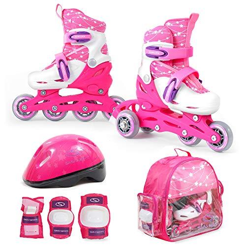 SMJ Kinder Mädchen Set 2in1 Inliner Rollschuhe VERSTELLBAR Inline Skates + Schonerset + Helm + Tasche (26-29)