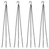 HAZOULEN Black Hanging Basket Chains Flower Plant Pot Replacement Chain Hanger for Bird Feeders, Planters, Lanterns and Ornaments, 4 Pack, 20 inch