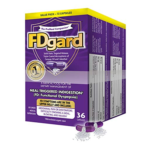 FDgard® for The Dietary Management of Meal-Triggered Indigestion (FD: Functional Dyspepsia) Symptoms† Including, Abdominal Discomfort, Difficulty Finishing a Meal, Bloating†*, Nausea, 72 Capsules
