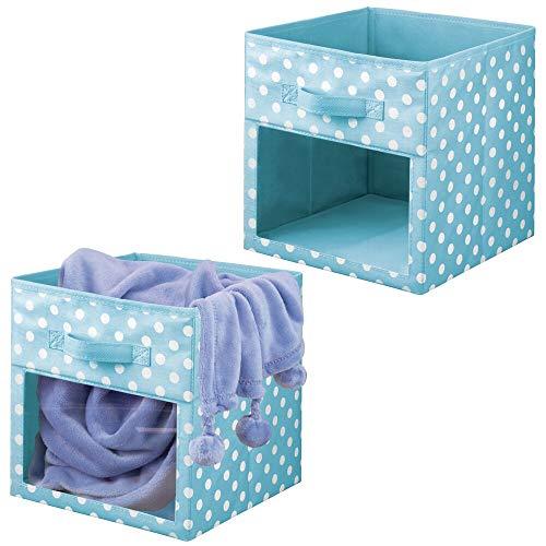 mDesign Juego de 2 cajas organizadoras de tela – Organizador de armario para ropa de bebé, mantas, etc. – Caja de almacenaje de lunares con asa y ventanilla – lunares azul turquesa/blanco