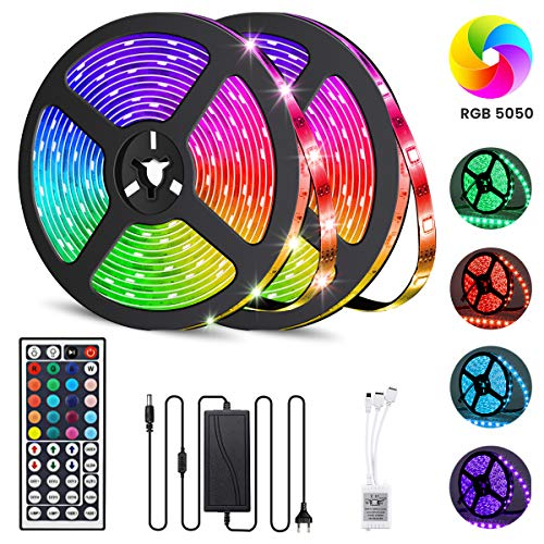 GLIME RGB LED Streifen 10M, LED Strip 300LEDs Lichtband 20 Farben Dimmbar LED Band mit 44 Tasten IR-Fernbedienung, Wasserdicht IP65, 12V 5A Netzteil, Selbstklebend LED Stripes Kit 2x5M