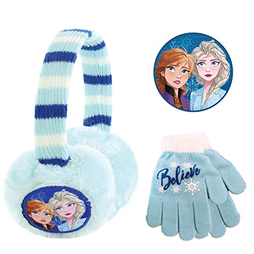 Disney Frozen 2, Girls Plush Earmuffs Set, Light Blue, Gloves-Age 4-7