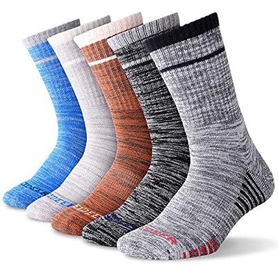 Hiking Socks Walking Socks For Men, FEIDEER 5 Pairs Outdoor Recreation Socks Moisture Wicking Crew Socks (5MSL18105-L)