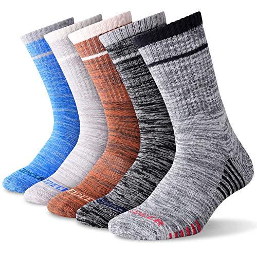 FEIDEER Hiking Socks Walking Socks For Men, 5 Pairs Outdoor Recreation Socks Moisture Wicking Crew Socks (5MSL18105-XL)