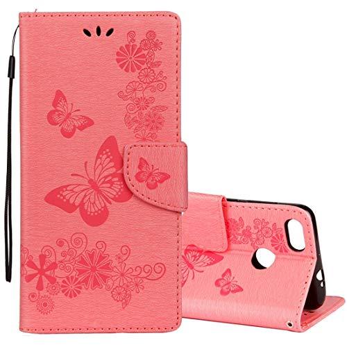Cubierta de protección QUAN DFRC para Huawei P9 Lite Mini Modelo de mariposa floral en relieve vintage Funda de cuero de la tirada horizontal con la ranura para la tarjeta y el soporte y la cartera y