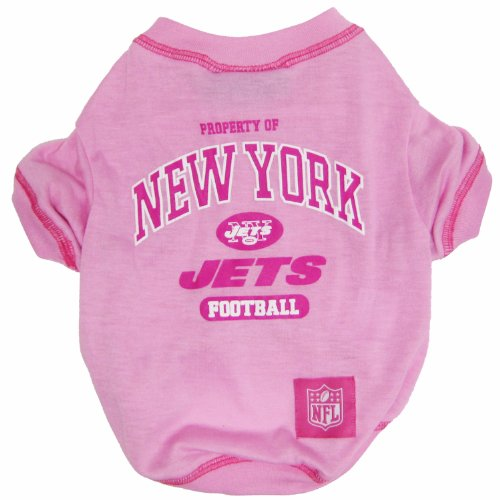 NFL New York Jets Pink Dog T-Shirt, Medium. - Football Sports Fan Pet Shirt