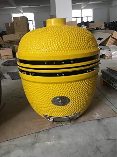 YNNI KAMADO TQ0C25YL maßgeschneiderter XL 63,5 cm Grill mit Trolley und Bambustischen, gelb mit Chip Feeder, Grill, Keramik, Ei, Smoker, TQ0C25YL