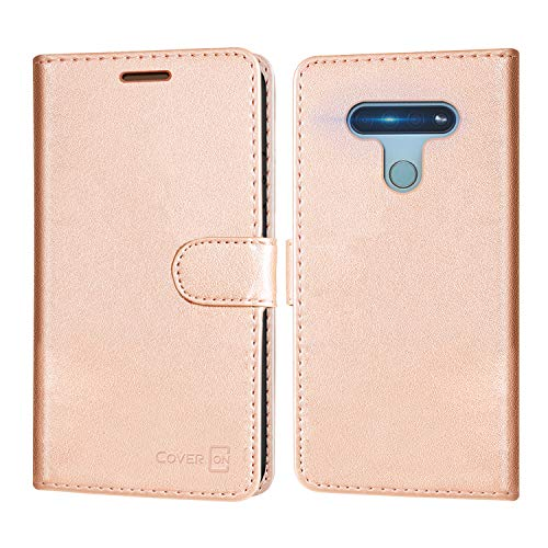 CoverON Wallet Designed for LG K51 Case, RFID Blocking Flip Folio Stand PU Leather Phone Pouch - Rose Gold