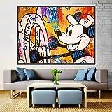 N / A Pintura sin Marco Imagen de Arte de Pared Impresiones en HD Cartel nórdico ratón de Dibujos Animados Graffiti decoración del hogarZGQ6670 40X60cm
