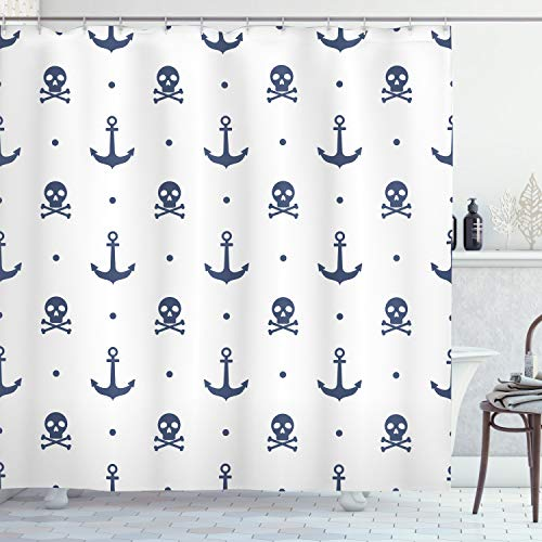 Ambesonne Anchor Shower Curtain, Anchors and Skulls Crossed...