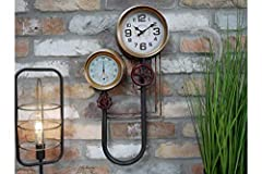 This rustic industrial pipework wall clock would suit any retro style home. This practical and trendy decorative clock has a highly distressed brown black finish with pipe effect detailing to add to the industrial vintage style look. An antique white...