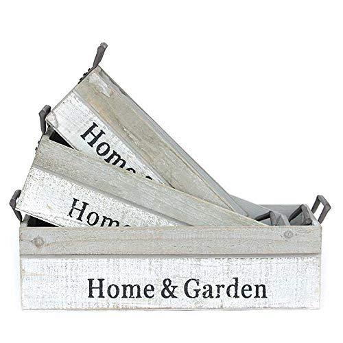 Homevibes Bandeja para Jardin 3 Piezas De Madera Home & Garden Bandeja Macetero Decorativo Interior O Exterior