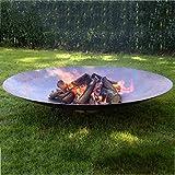 露台大型篝火晚会,超大圆形火坑,户外取暖器火盆木材燃烧,重型金属壁炉用于木炭燃烧,47inch (120cm)