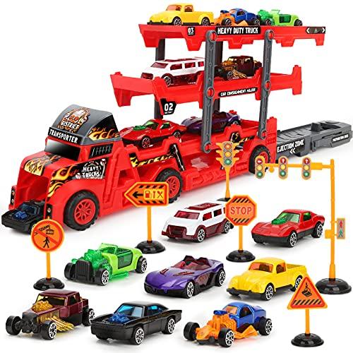 Camion Transportador de Coches con 8 Coches Pequeños, Regalo Coches Juguetes para Niños 3 4 5