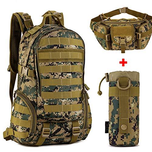 QZY Militar Camo 35L Mochila con Bolsa De Botella De Agua Y Bolso De La Cintura Establece Tácticas De Nylon Impermeable Actualizado 1000D para Acampar/Pesca/Viajes-6 Colores,JD