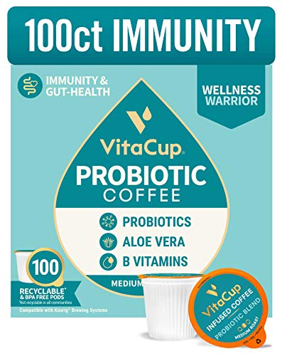 VitaCup 100CT Immunity Probiotic Coffee Pod | Boost Immunity + Improve Gut Health | Infused with Probiotics & Vitamins B1, B5, B6, B9, B12, Compatible with K-Cup Brewers Including Keurig 2.0