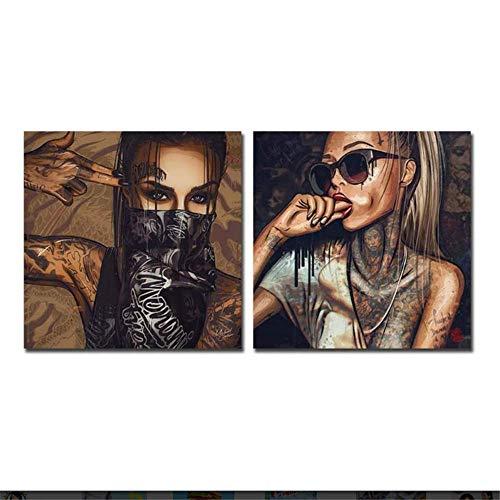 nobrand Poster Artworks 2x20x20cm ohne Rahmen Tätowierte Frau mit Brille und Maske Poster Wandkunst Bild Home Decor Leinwand Malerei