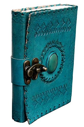 Tuzech Leather Travel Writing Journal Handmade - 100% Pure Genuine Leather Diary Vintage Unique for Men Women Kids   Used in Home School Office   Regular Record Book   with Lock 7 Inches