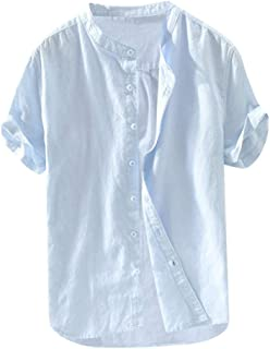MIS1950s Mens Short Sleeve Shirts Linen Cotton Button Down Fishing Tees Baggy Spread Collar Retro Summer Shirts