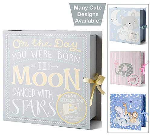 Baby Milestone Keepsake Storage Box: Track Treasured Memories - Moon & Stars