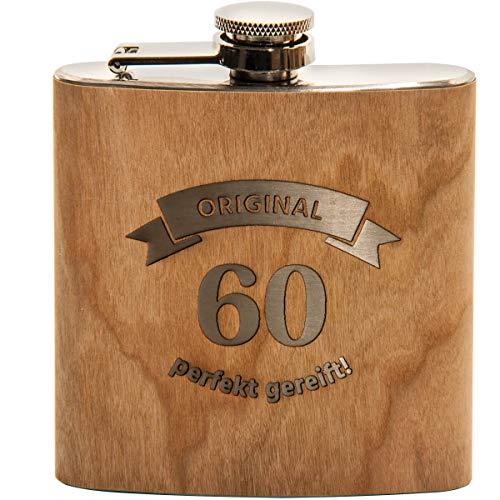 Spruchreif PREMIUM QUALITÄT 100% EMOTIONAL · Flachmann aus Edelstahl mit Gravur und hochwertiger Echtholz Veredelung · perfekte Geschenkidee zum 60. Geburtstag (Original 60 - perfekt gereift)