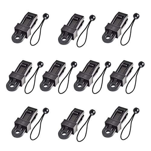 XIAOFANG 10 unids/Set Clips de Lona Trap Abrazaderas de Tiendas de campaña Clips Clips Tienda de toldos y 10pcs Cords para Soporte Tarpaulins Toldos Sunsh (Color : Black)