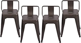 Changjie Furniture Pack of 4 Gunmetal Counter Bar Stool with Backs Indoor-Outdoor Bistro Cafe Bar Stool (18 inch, Low Back Rusty)