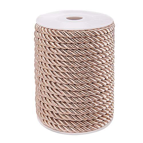 PandaHall 20M (21 Yards) 5mm Twisted Cord Corda Nylon Twisted Cord Trim Filo String per Craft Fai da Te Fare Marrone Chiaro