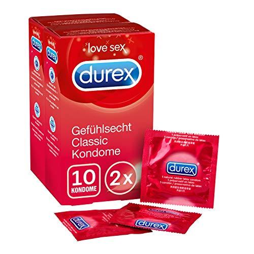 Durex Gefühlsecht Kondome, hauchzartes Kondom für intensives Empfinden, 2 x 10 Stück