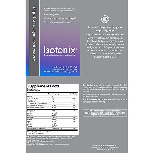 Isotonix Digestive Enzyme Supplement w/Probiotics Travel Packs - Box (20 Packets/6.6 gram Serving/Packet) by Isotonix, 4.6oz