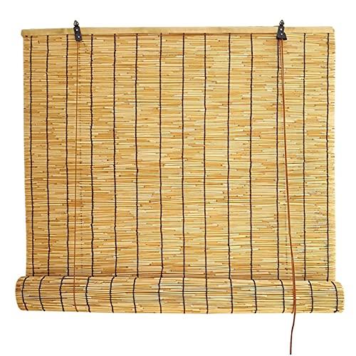 LHYZF Persianas enrollables de bambú, 50 cm, 60 cm, 70 cm, 80 cm, 90 cm, 100 cm, 110 cm, 120 cm, 130 cm, 140 cm de ancho, cortina vintage para ventana, parasol impermeable (tamaño: 130 x 200 cm)