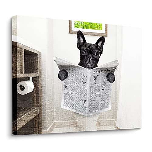 Wall Art Painting French Bulldog Dog Sitting On Toilet Prints On Canvas The Picture Landscape Pictures Oil For Home Modern Decoration Print Decor For Living Room