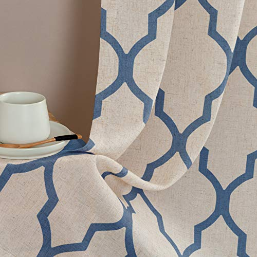 jinchan Tier Curtains Moroccan Print for Kitchen Moroccan Print Cafe Curtains Kitchen Window Curtain Sets for Bathroom 1 Pair 26