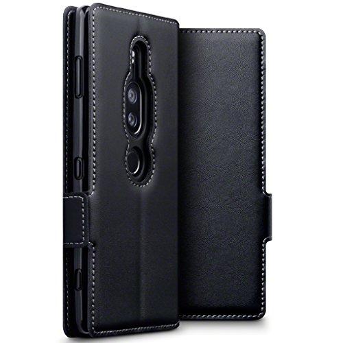 TERRAPIN, Kompatibel mit Sony Xperia XZ2 Premium Hülle, ECHT Leder Börsen Tasche - Ultra Slim Fit - Betrachtungsstand - Kartenschlitze - Schwarz