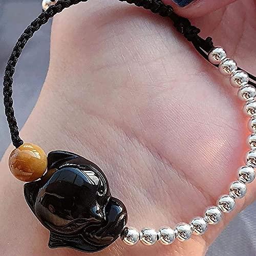 HYJMJJ Feng Shui Pulsera Natural Obsidian Fox Pulsera Lucky Love 925 Silver con Cuentas Estilo Ajustable para Hombres/Mujeres Puede traer Buena Suerte