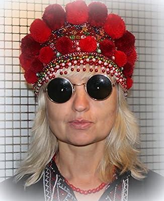 Rushnichok Ukrainian Traditional Wedding Headdress red Wreath Kokoshnic Handmade Beaded Hippie Tiara FATHRT'S Day Sale