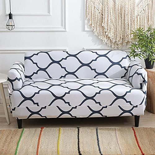 Funda De Sofá 1 Plazas Blanco Fundas Sofa Elasticas Cubre Sofa Antideslizante Protector Funda para Sofá con Diseño Moderno Línea Azul Universal Funda Cubre Sofas