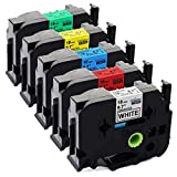 Unistar Compatible Label Tape Replacement for Brother Ptouch 18mm 0.7 Inch Tape, TZ Colored Laminated Tape (Black on White/Red/Blue/Yellow/Green) for Ptouch Label Maker D400 D600, 3/4 inch, 5 Pack