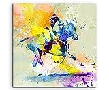Polo I 60x60cm Wandbild SPORTBILD Aquarell Art tolle Farben