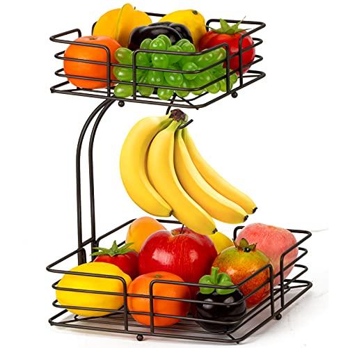 Auledio 2-Tier Square Countertop Fruit Vegetables Basket Bowl Storage With Banana Hanger, Brone