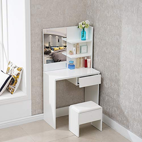 TUKAILAI White High Gloss Dressing Table Set with Stool and Mirror Set White Make-up Table 1 Drawer and Shelf with 2 Levels for Storage Corner for Bedroom with 25MM Thick Gloss Table Top